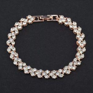 Gold Rose Tone Crystals Bracelet